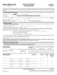 "Form M6190 ""Group Coverage Change Form"" - Newfoundland and Labrador, Canada"