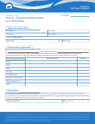 "Form E ""Payment Authorization to a Third Party"" - Northwest Territories, Canada"