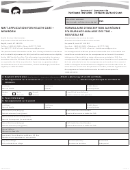 """Form NWT8894 """"Nwt Application for Health Care - Newborn"""" - Northwest Territories, Canada (English/French)"""