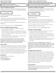 """Form NWT1145 """"Nwt Application for Health Care"""" - Northwest Territories, Canada (English/French)"""