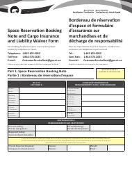 """""""Space Reservation Booking Note and Cargo Insurance and Liability Waiver Form"""" - Northwest Territories, Canada (English/French)"""