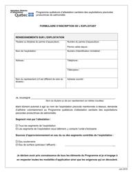 """""""Formulaire D'inscription De L'exploitant"""" - Quebec, Canada (French)"""