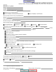 """Form SJ-779A """"Application for Placement on the Roll"""" - Quebec, Canada"""