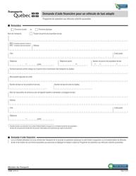 """Forme V-3039 """"Demande D'aide Financiere Pour Un Vehicule De Taxi Adapte"""" - Quebec, Canada (French)"""