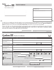 """Form SR-2136A """"Proof of Residence"""" - Quebec, Canada"""