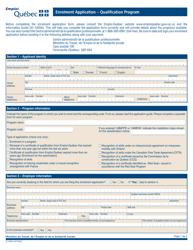 """Form 01-1000A """"Enrolment Application - Qualification Program"""" - Quebec, Canada"""