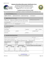 "Form NHDES-A-01-016 ""Asbestos Demolition/Renovation Notification Form"" - New Hampshire"