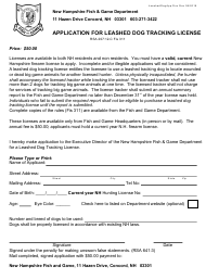 """""""Application for Leashed Dog Tracking License"""" - New Hampshire"""