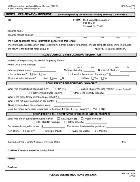 BFA Form 775  Printable Pdf