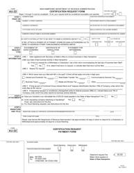 """Form AU-22 """"Certification Request Form"""" - New Hampshire"""