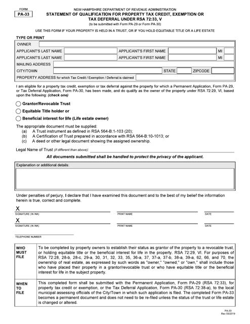 Form PA-33  Printable Pdf