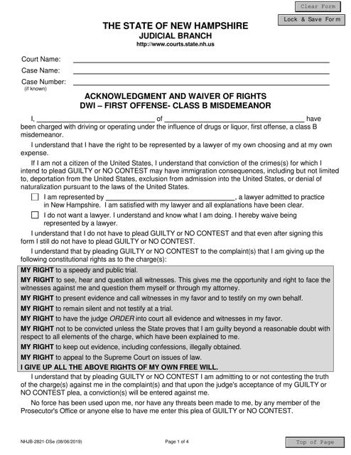 Form NHJB-2821-DSE  Printable Pdf
