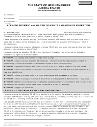 "Form NHJB-2405-D ""Acknowledgment and Waiver of Rights Violation of Probation"" - New Hampshire"