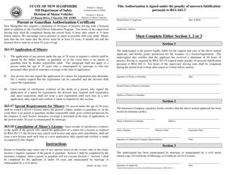 "Form DSMV38 ""Parent or Guardian Authorization Certificate"" - New Hampshire"