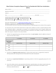 """Form 34 """"Meal Pattern Exception Request Form for Residential Child Care Institutions (Rcci)"""" - New Jersey"""