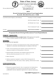 """Drunk Driving Enforcement Fund Application"" - New Jersey, 2019"