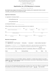"Form L1 ""Application for Lpg Marketer's License"" - New Jersey"