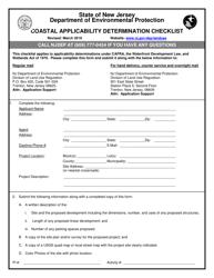 """""""Coastal Applicability Determination Checklist"""" - New Jersey"""