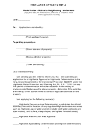 "Attachment A ""Model Letter - Notice to Neighboring Landowners"" - New Jersey"