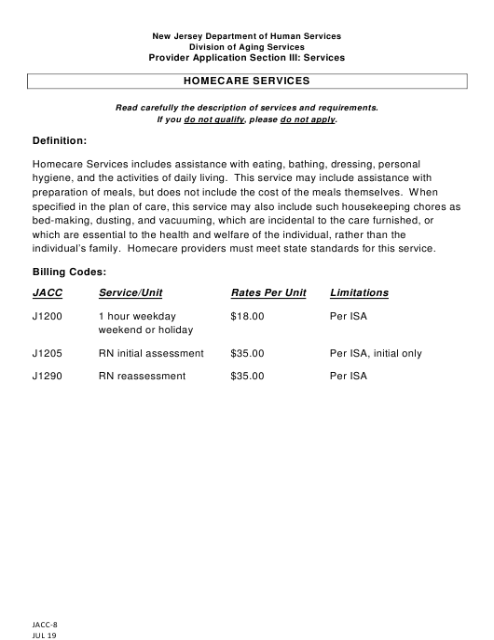 Form JACC-8 Section III  Printable Pdf