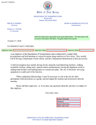 """Form DF-17 """"Field Work Security Letter"""" - New Jersey"""