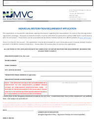 "Form DRM-21 ""Individual Restoration Requirement Application"" - New Jersey"