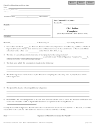"Form 10327 ""Civil Action Complaint (State Equalization Table - School Aid)"" - New Jersey"