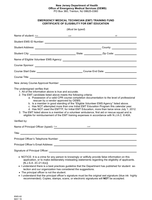 Form Ems 62 Download Fillable Pdf Or Fill Online Emergency Medical Technician Emt Training Fund Certificate Of Eligibility For Emt Education New Jersey Templateroller