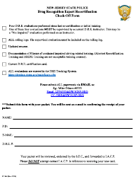 """Form S.P.042 """"Dre Re-certification Check-Off Form"""" - New Jersey"""