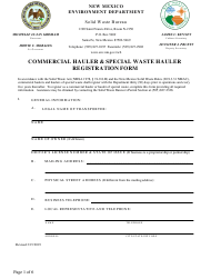 """Commercial Hauler & Special Waste Hauler Registration Form"" - New Mexico"