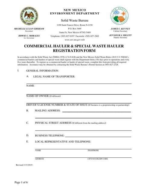 """Commercial Hauler & Special Waste Hauler Registration Form"" - New Mexico Download Pdf"