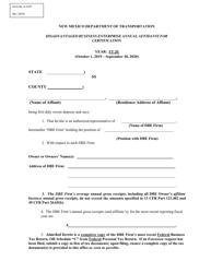"Form A-1147 ""Disadvantaged Business Enterprise Annual Affidavit for Certification"" - New Mexico, 2020"