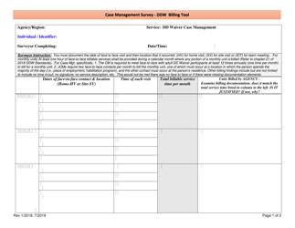 """Case Management Survey - Ddw Billing Tool"" - New Mexico"