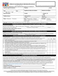 """Forma De Autorizacion De Inmunizacion Escolar"" - New Mexico (Spanish)"