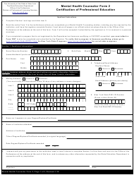 """Mental Health Counselor Form 2 """"Certification of Professional Education"""" - New York"""