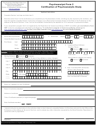 """Psychoanalyst Form 2 """"Certification of Psychoanalytic Study"""" - New York"""