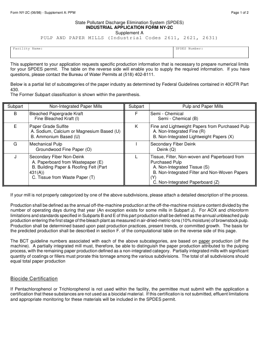 Form NY-2C Supplement A:PPM  Printable Pdf