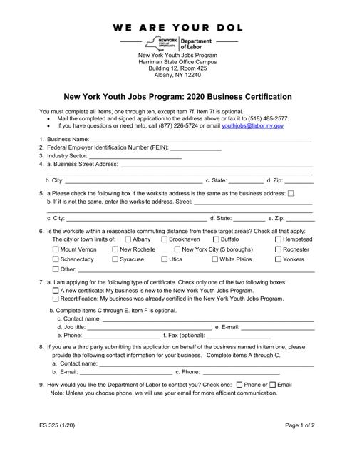 Form ES325 2020 Printable Pdf