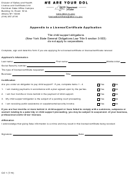 "Form GO1 ""Appendix to a License/Certificate Application"" - New York"