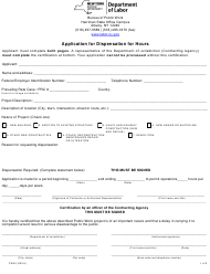 """Form PW30 """"Application for Dispensation for Hours"""" - New York"""