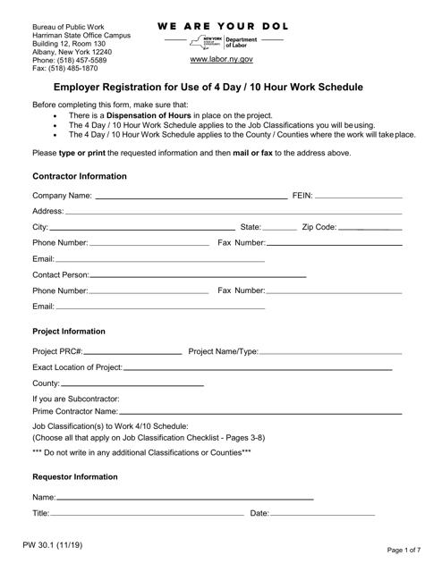Form PW30.1  Printable Pdf