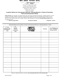 "Form SH87 ""Location Notice for Amusement Devices, Viewing Stands or Tents at Carnivals, Fairs and Amusement Parks"" - New York"