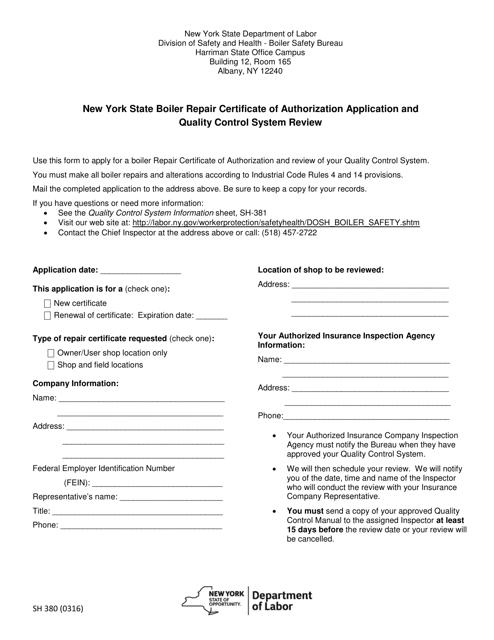 Form SH380  Printable Pdf