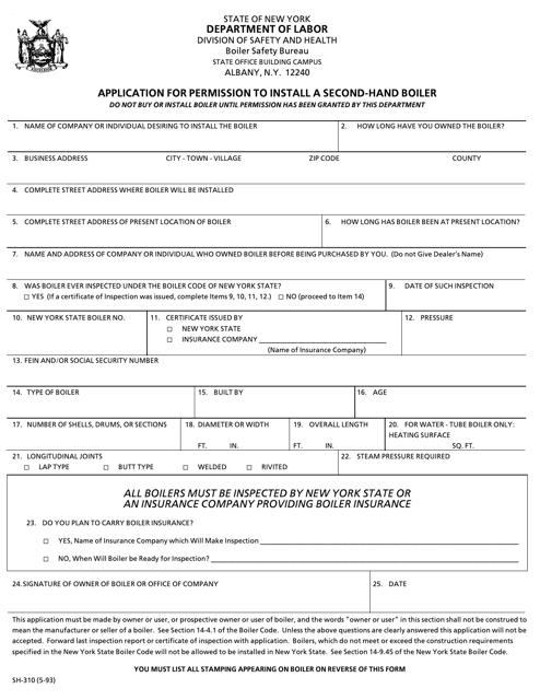 Form SH-310  Printable Pdf