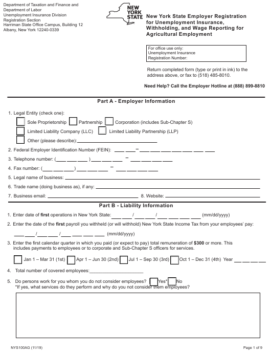 Form NYS100AG  Printable Pdf
