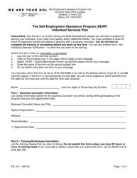 "Form ES161.1 ""The Self-employment Assistance Program (Seap) Individual Services Plan"" - New York"