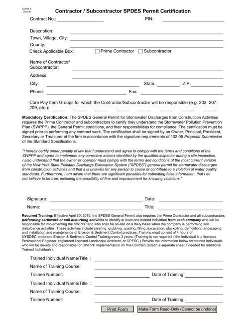 Form CONR5  Printable Pdf