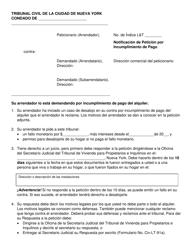 """""""Notificacion De Peticion Por Incumplimiento De Pago"""" - New York City (Spanish)"""