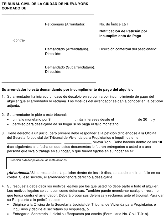 """Notificacion De Peticion Por Incumplimiento De Pago"" - New York City (Spanish) Download Pdf"