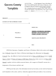 """""""Order Confirming Referee Report and Judgment of Foreclosure and Sale Template"""" - Queens County, New York"""